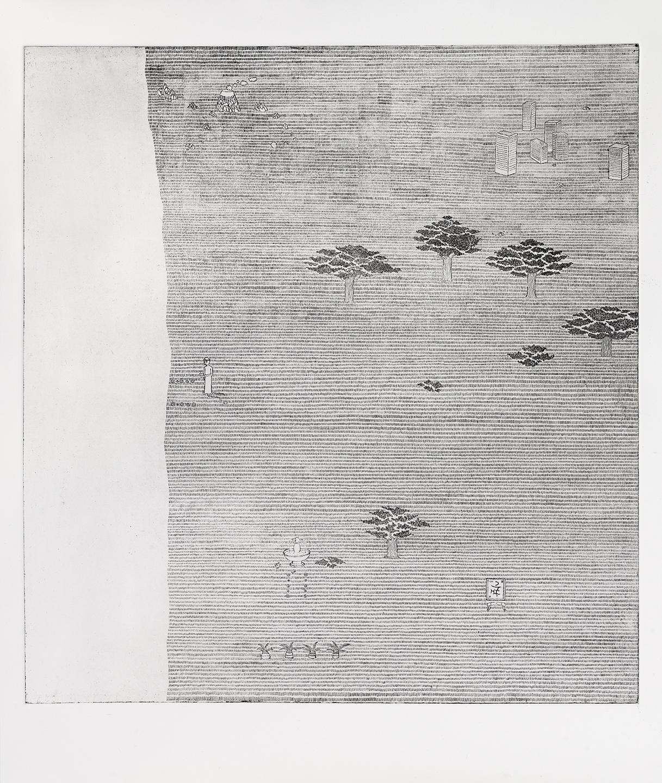 Patrick Graf, «Die Karte der Welt b/2», 2012, Radierung, Atelierblatt, 56 x 49,5 cm, © Patrick Graf