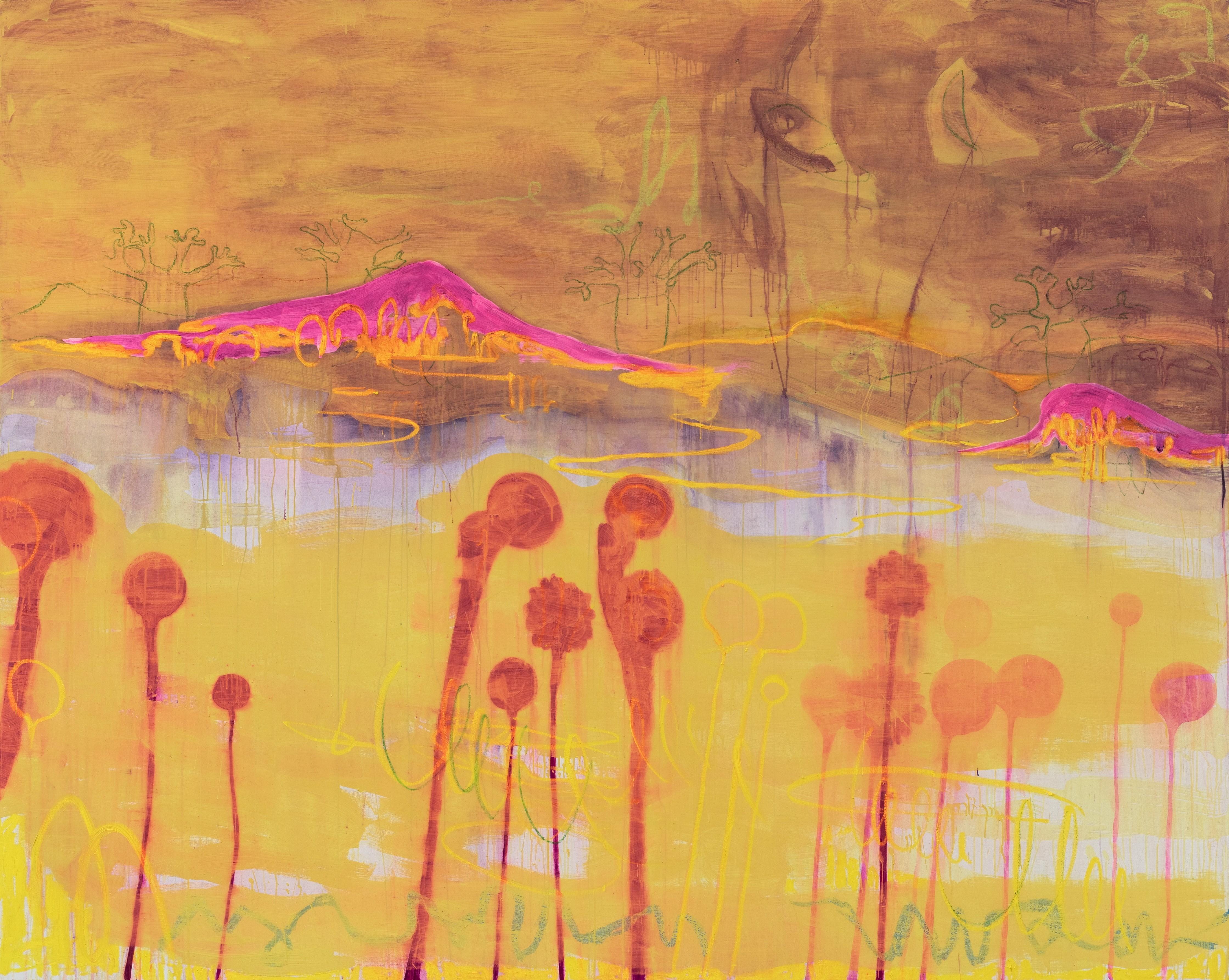Rebekka Steiger, «mauvaise herbe», 2019, Tempera und Ölkreide auf Leinwand, 240 x 300 cm © Rebekka Steiger und Galerie Urs Meile, Beijing-Luzern