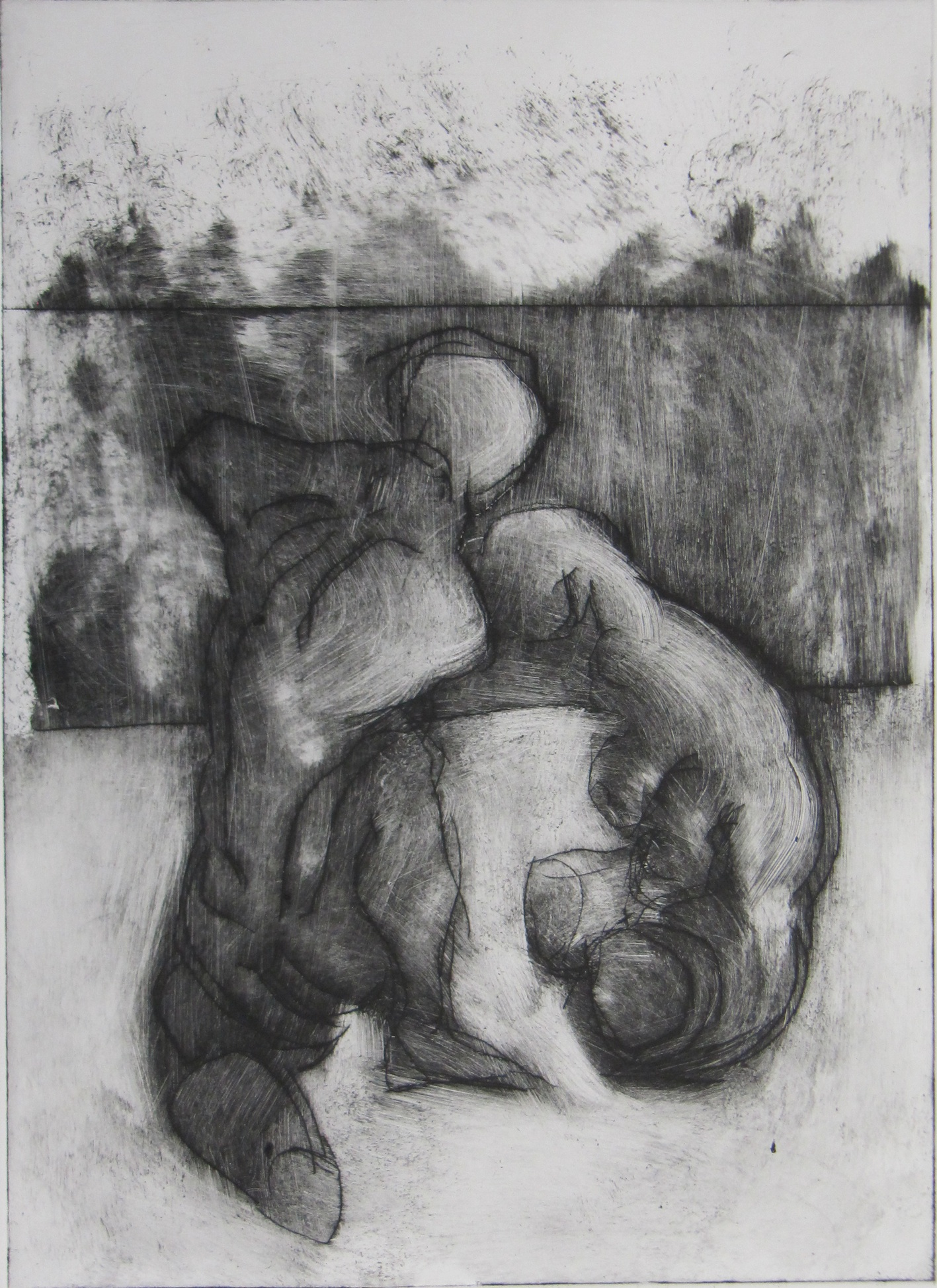 Kaspar Toggenburger, «Torso«, 2019, Kaltnadel, individuell ausgewischt, Unikat, 55,5 x 38 cm © Kaspar Toggenburger