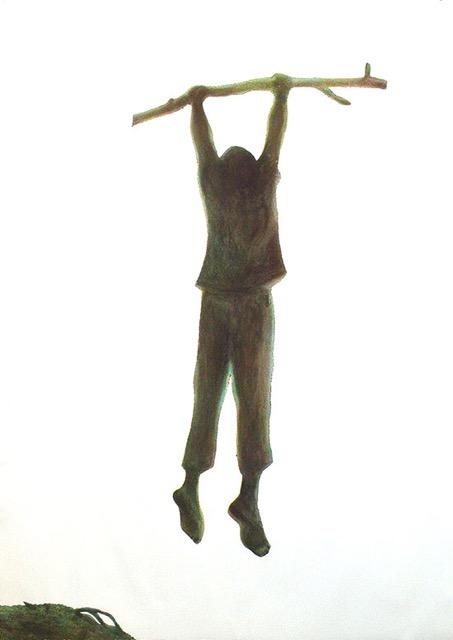 Sieglinde Wittwer, aus der 3-teilige Serie «swing », 2017, Pinselätzung, Dreifarbendruck, E.A., 106 x 76 cm © Sieglinde Wittwer