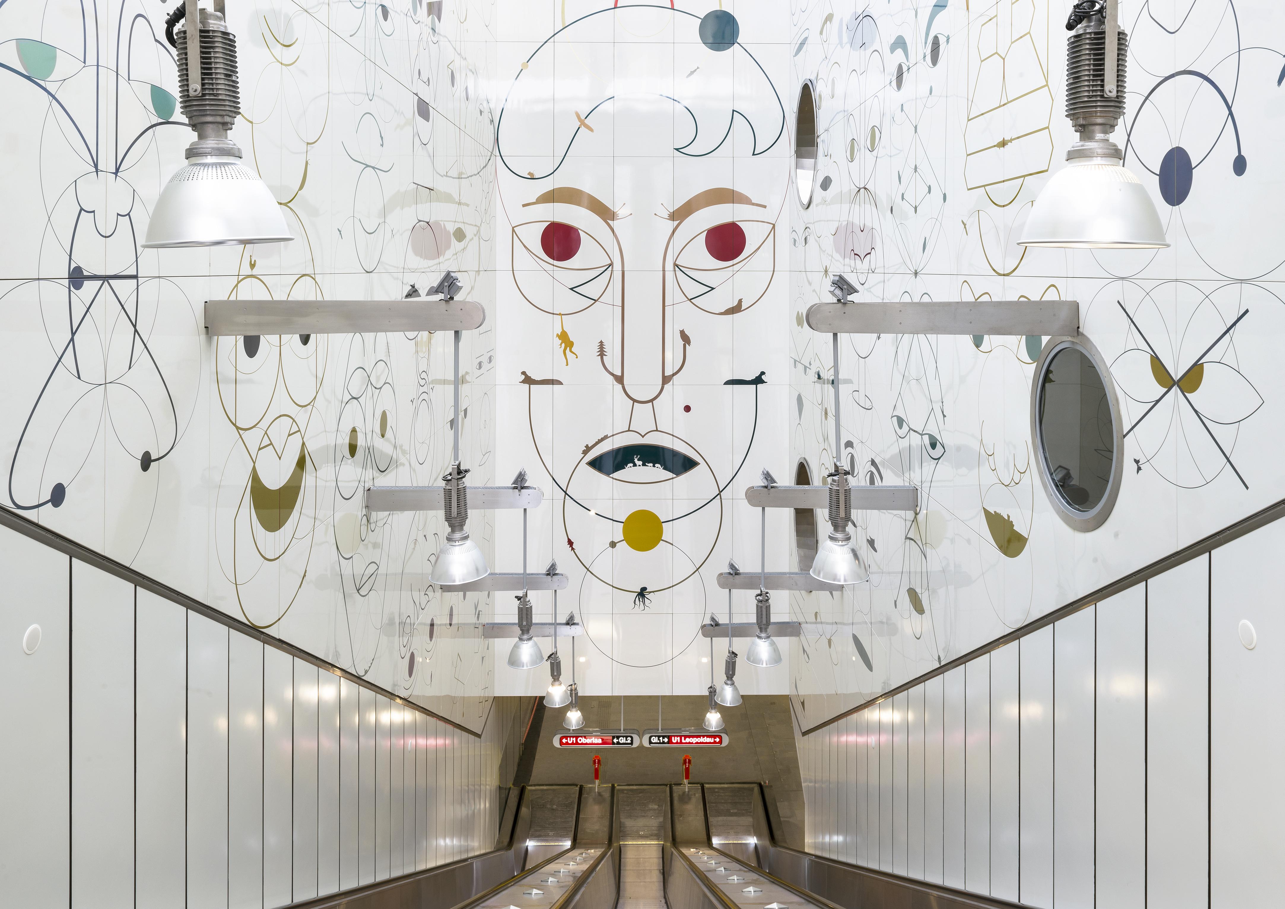 Yves Netzhammer, Gesichtsüberwachungsschnecken, 2017, permanente Installation, U1-Station Altes Landgut, Wien. Foto: Iris Ranzinger, KÖR GmbH © Yves Netzhammer