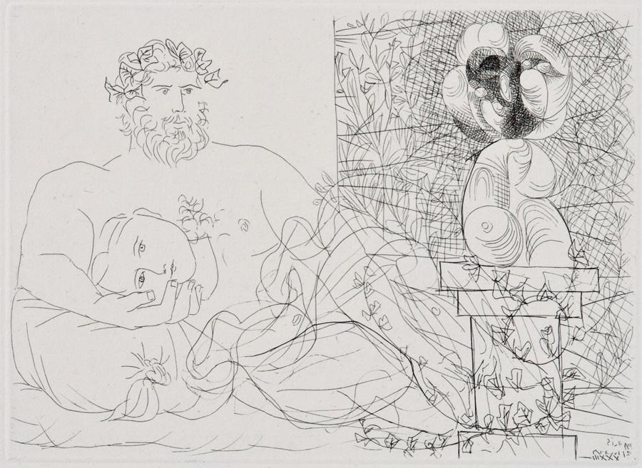 Pablo Picasso, «Le Repos du Sculpteur et la Sculpture surréaliste», aus «Suite Vollard», Blatt 60, 31.3.1933 IV, Radierung, 19,4 x 26,7 cm © Succession Picasso / 2019, ProLitteris, Zurich, Photo: Boltin Picture Library / Bridgeman Images