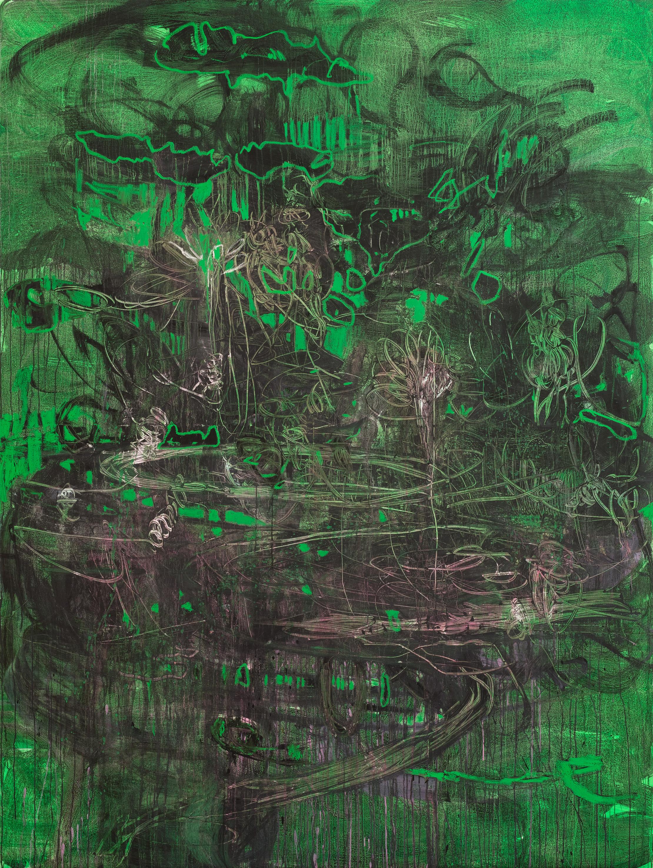 Rebekka Steiger, «if I wear my heart out on my sleeve», 2019, Öl, Tempera und Ölkreide auf Leinwand, 240 × 180 cm © Rebekka Steiger und Galerie Urs Meile, Beijing-Luzern