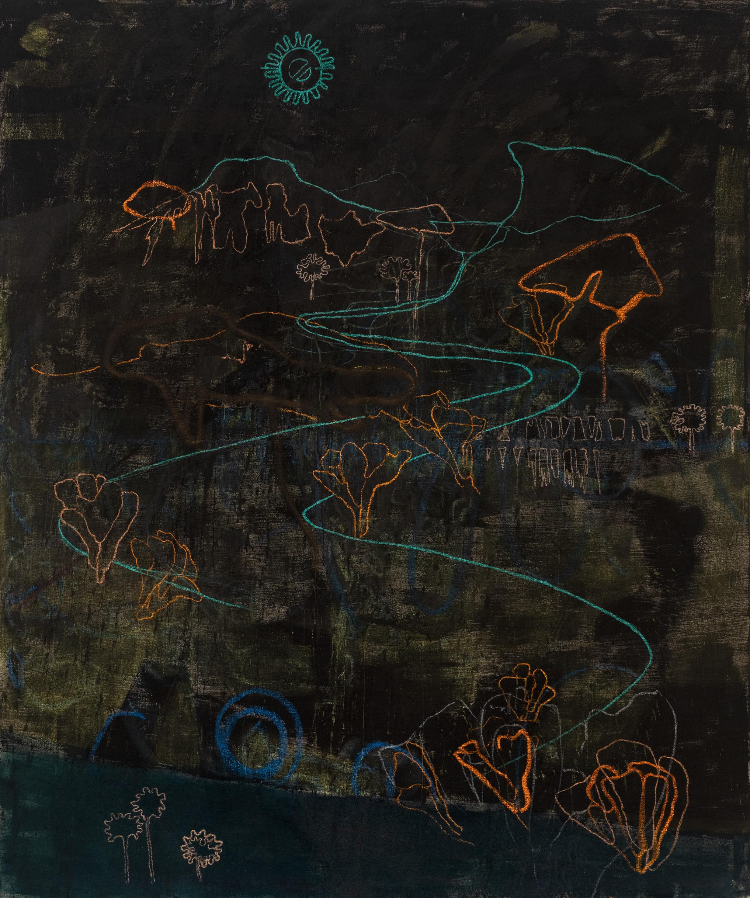 Rebekka Steiger, «boxing the compass», 2019, Tempera, Öl, Ölkreide und Pastell auf Leinwand, 240 x 200 cm © Rebekka Steiger und Galerie Urs Meile, Beijing-Luzern