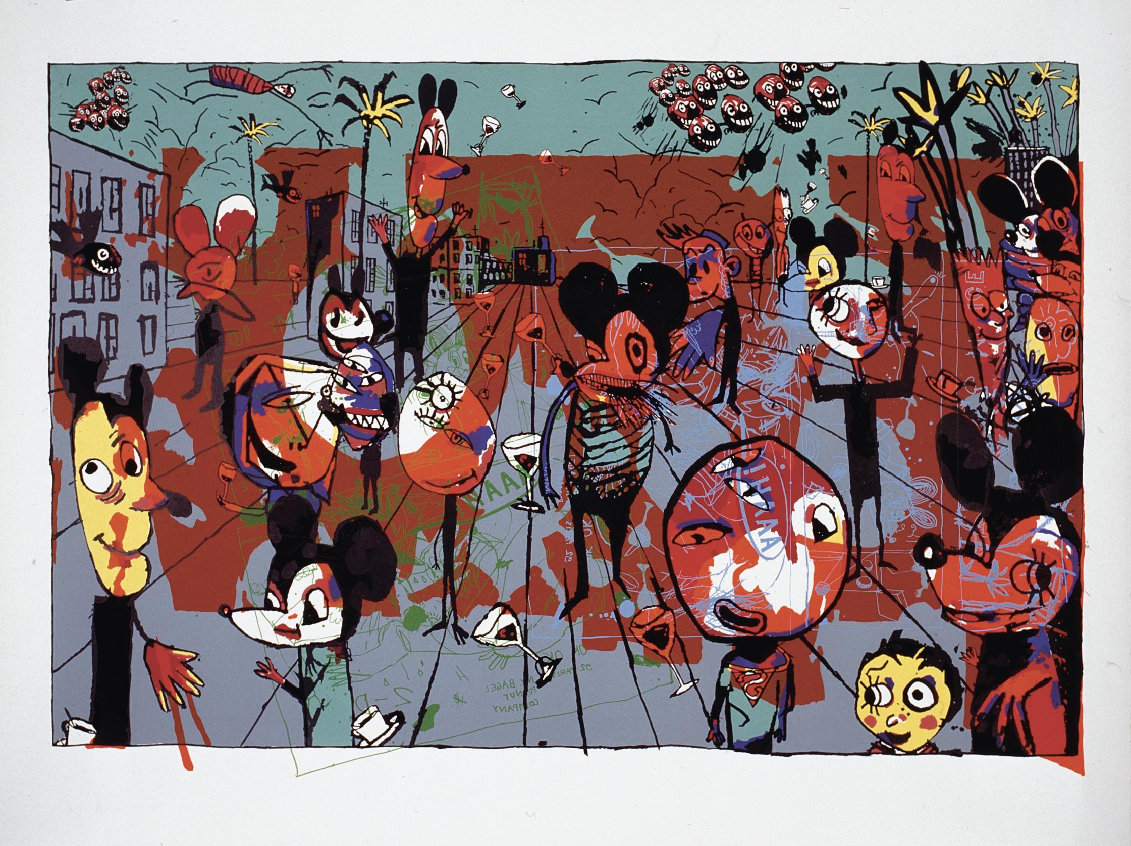 M.S. Bastian / Isabelle L., «Bastian World», 1994, Siebdruck © M.S. Bastian / Isabelle L.