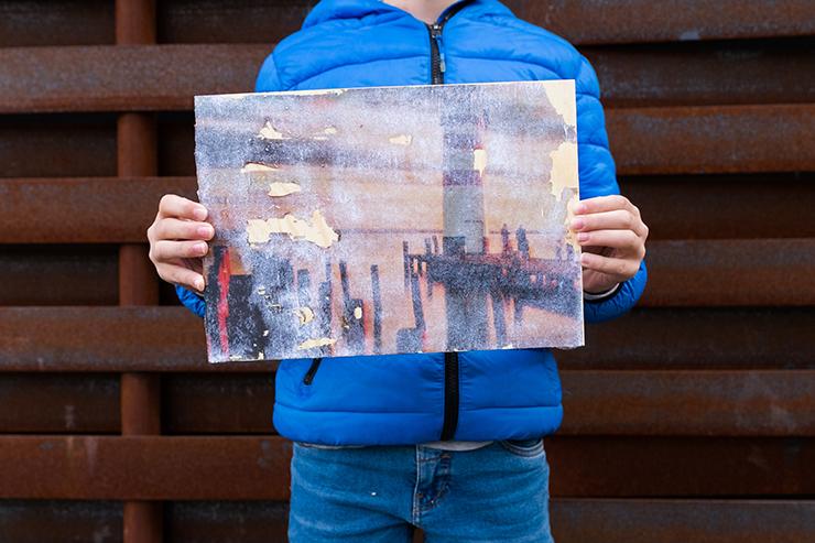 Ben (12), Fototransfer auf Holz